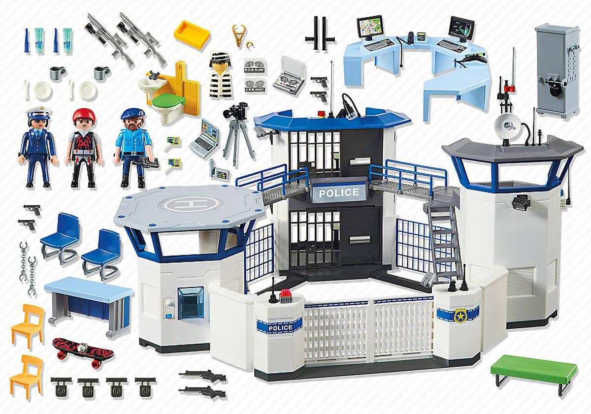 Playmobil 6919 - Politiebureau met gevangenis - inhoud van de doos